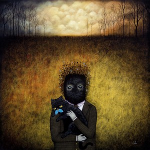 Andy  Kehoe -  <strong>Even Fiends Need Friends</strong> (2011<strong style = 'color:#635a27'></strong>)<bR /> oil on wood panel,   24 x 24 inches (60.96 x 60.96 cm)  26.75 x 26.75 inches, framed
