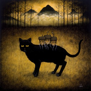 Andy  Kehoe -  <strong>Exodus of Youth</strong> (2011<strong style = 'color:#635a27'></strong>)<bR /> oil on wood panel,   18 x 18 inches  (45.72 x 45.72 cm)