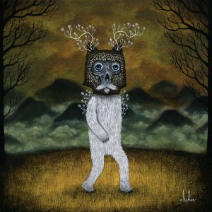 Andy  Kehoe -  <strong>Flight of the Upright</strong> (2011<strong style = 'color:#635a27'></strong>)<bR /> oil on wood panel,   10 x 10 inches   (25.4 x 25.4 cm)