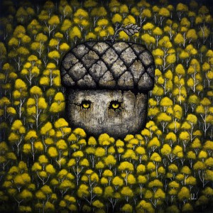 Andy  Kehoe -  <strong>Forest Elder</strong> (2011<strong style = 'color:#635a27'></strong>)<bR /> oil on wood panel,   18 x 18 inches   (45.72 x 45.72 cm)