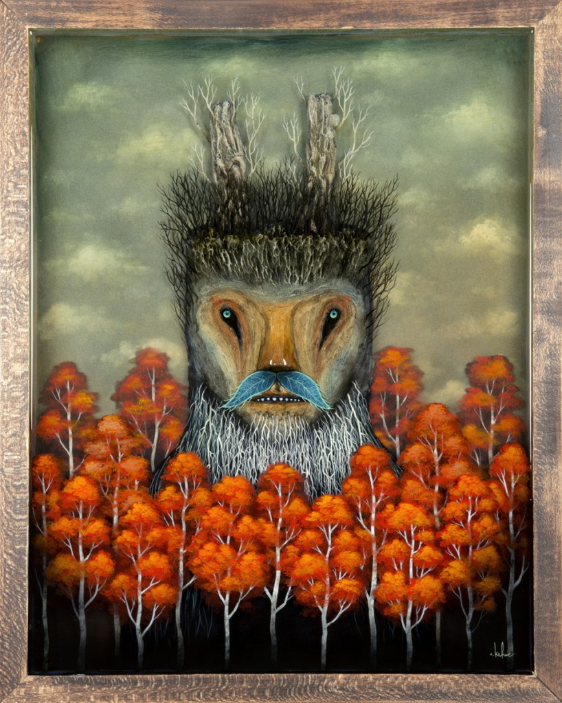 Andy  Kehoe -  <strong>Forest Master</strong> (2013<strong style = 'color:#635a27'></strong>)<bR /> oil, acrylic, polymer clay and resin in wood box,   16 x 20 inches  (40.64 x 50.80 cm)