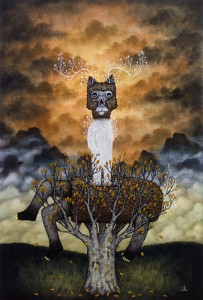 Andy  Kehoe -  <strong>Goodness Parts from the Hateful Host</strong> (2011<strong style = 'color:#635a27'></strong>)<bR /> oil on wood panel,   30 x 20 inches (76.2 x 50.8 cm)  33.5 x 23.25 inches, framed