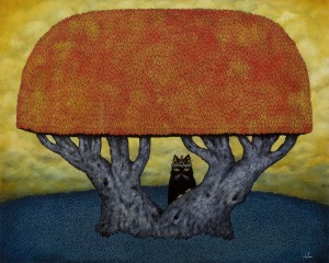 Andy  Kehoe -  <strong>King of the Hermits</strong> (2011<strong style = 'color:#635a27'></strong>)<bR /> oil on wood panel,   24 x 30 inches (60.96 x 76.2 cm)  33.25 x 27.25 inches, framed