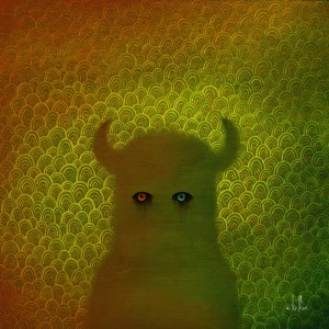 Andy  Kehoe -  <strong>Lost in the Void</strong> (2011<strong style = 'color:#635a27'></strong>)<bR /> oil on wood panel,   10 x 10 inches   (25.4 x 25.4 cm)