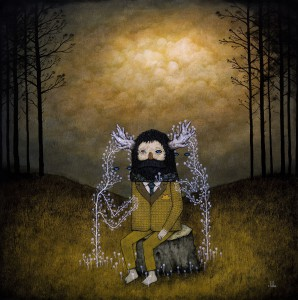 Andy  Kehoe -  <strong>Mysterious Attraction to the Unseen</strong> (2011<strong style = 'color:#635a27'></strong>)<bR /> oil on wood panel,   24 x 24 inches (60.96 x 60.96 cm)  26.75 x 26.75 inches, framed