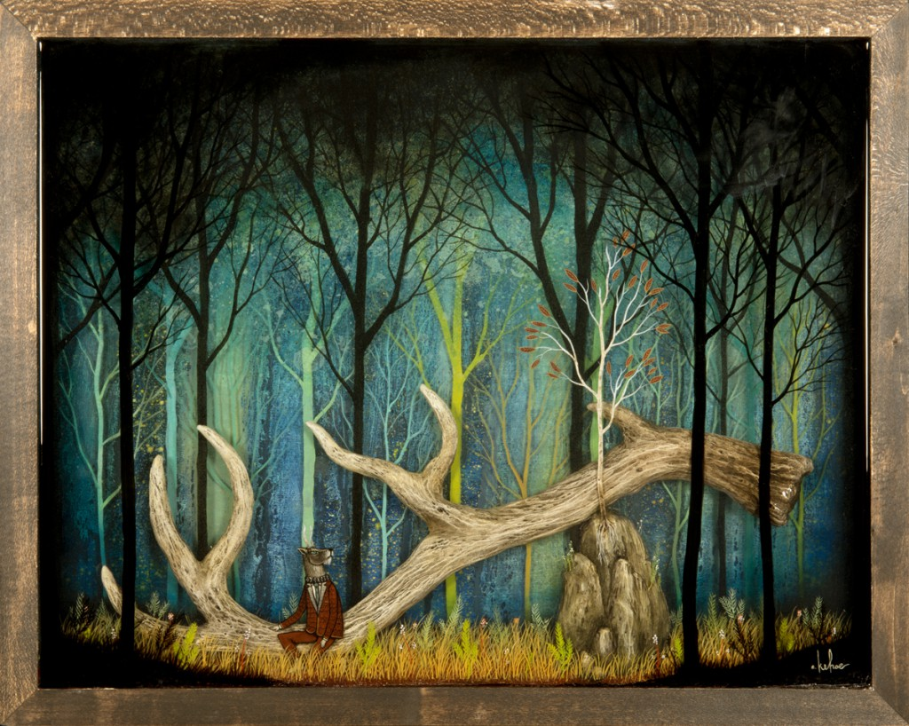 Andy  Kehoe -  <strong>Remanent of Myth</strong> (2013<strong style = 'color:#635a27'></strong>)<bR />  oil, acrylic, polymer clay and resin in wood box,   20 x 16 inches  (50.80 x 40.64 cm)