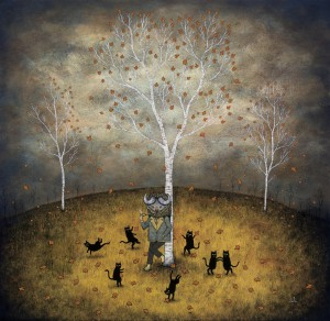 Andy  Kehoe -  <strong>Revel in the Wild Joy</strong> (2011<strong style = 'color:#635a27'></strong>)<bR /> oil on wood panel,   30 x 30 inches (76.2 x 76.2 cm)  33.5 x 33.5 inches, framed