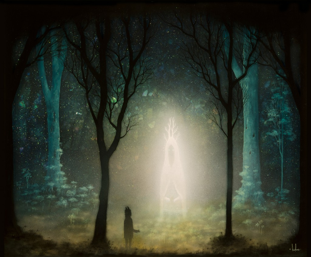 Andy  Kehoe -  <strong>Roamer of the Subterranean Forest</strong> (2013<strong style = 'color:#635a27'></strong>)<bR /> oil, acrylic, stained glass and resin in wood box,   24 x 20 inches  (60.96 x 50.80 cm)