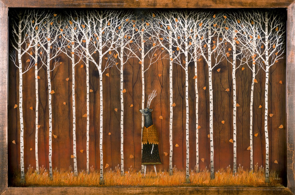 Andy  Kehoe -  <strong>Strolling Through a Close Enchantment</strong> (2013<strong style = 'color:#635a27'></strong>)<bR /> oil, acrylic, polymer clay and resin in wood box,   30 x 20 inches  (76.20 x 50.80 cm)