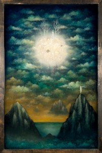 Andy  Kehoe -  <strong>The Passing of Kindred Spirits</strong> (2013<strong style = 'color:#635a27'></strong>)<bR /> oil, acrylic, polymer clay and resin in wood box,   20 x 30 inches  (50.80 x 76.20 cm)
