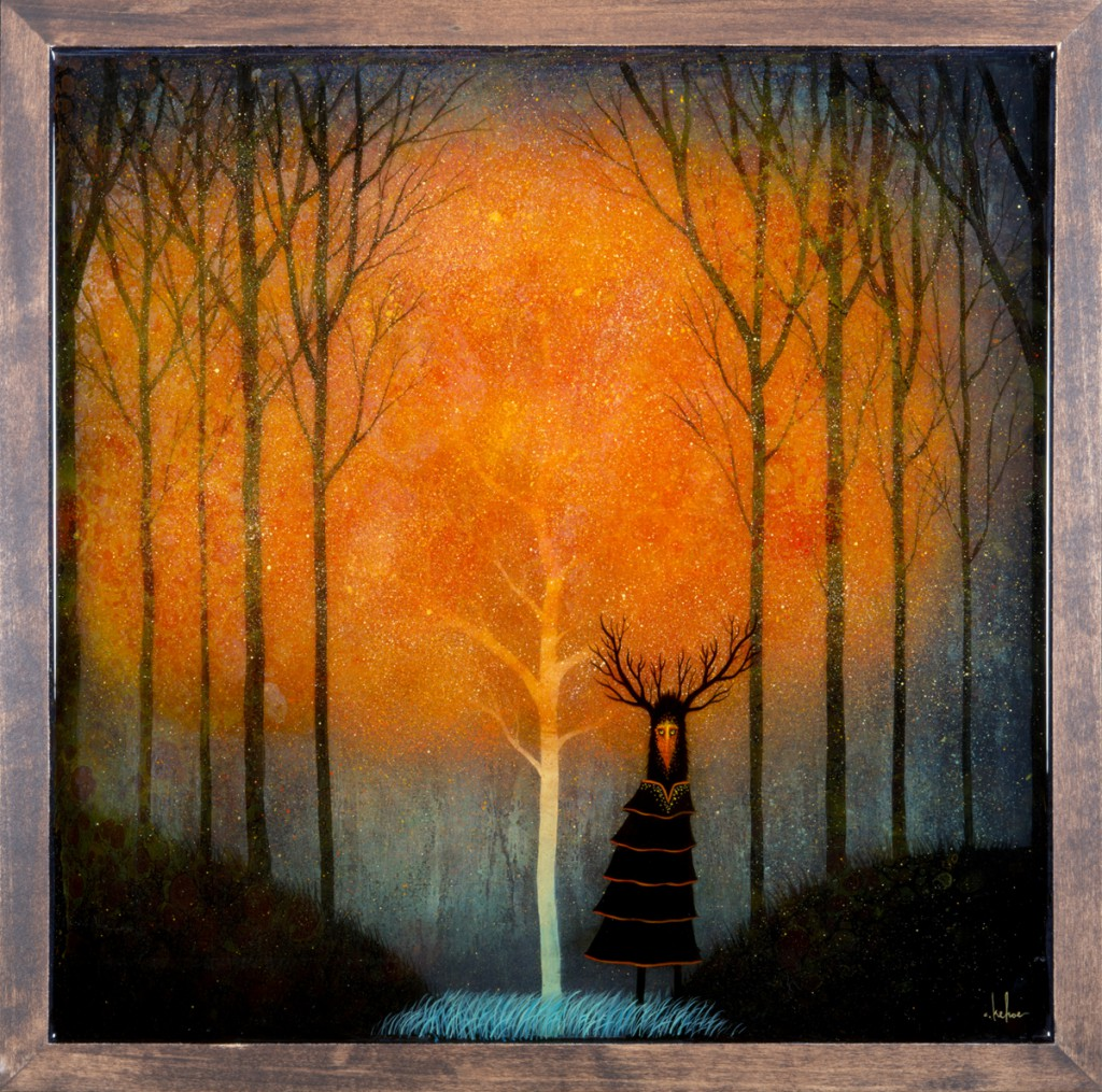 Andy  Kehoe -  <strong>Tree of Embers</strong> (2013<strong style = 'color:#635a27'></strong>)<bR /> oil, acrylic and resin in wood box,   18 x 18 inches  (45.72 x 45.72 cm)