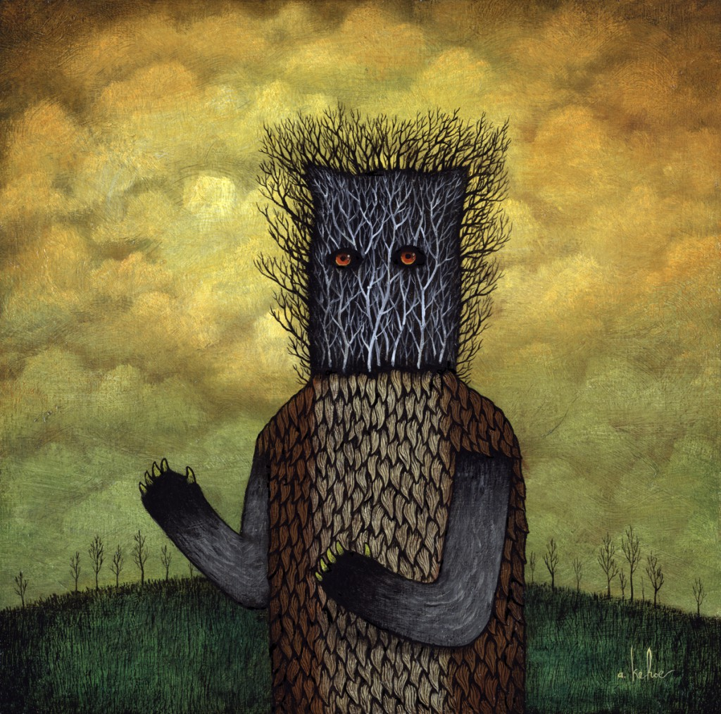 Andy  Kehoe -  <strong>Vessel of Venom</strong> (2011<strong style = 'color:#635a27'></strong>)<bR /> oil on wood panel,   10 x 10 inches   (25.4 x 25.4 cm)