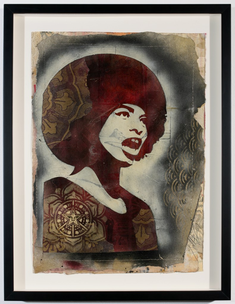 Shepard Fairey -  <strong>Angela Davis</strong> (2007<strong style = 'color:#635a27'></strong>)<bR /> hand painted multiple, screened collage on paper 29 x 42 inches