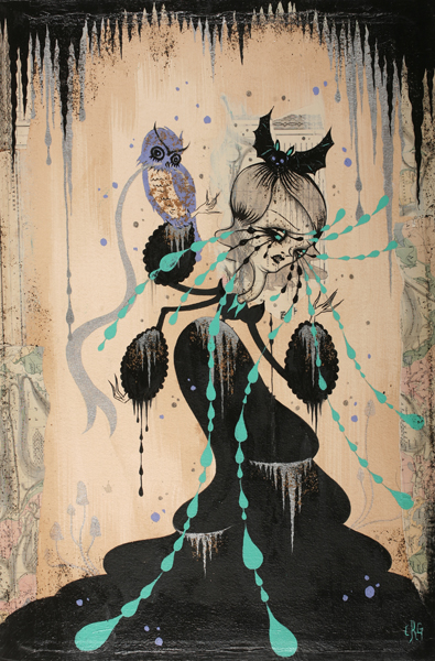 Camille Rose  Garcia -  <strong>The Animals Talk at Midnight</strong> (2008<strong style = 'color:#635a27'></strong>)<bR /> Acrylic and Glitter on Paper Mounted on Board,   24 x 16 inches