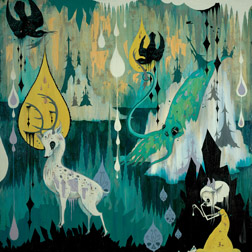Camille Rose  Garcia -  <strong>Antarctic Suburban Outpost</strong> (2005<strong style = 'color:#635a27'></strong>)<bR /> Acrylic, glitter and gold mica on wood,   48 x 48 inches
