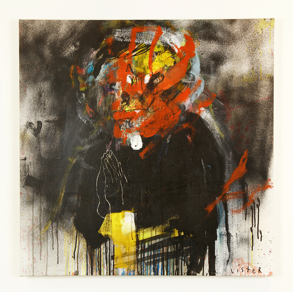 Anthony  Lister -  <strong>Dark Daze</strong> (2014<strong style = 'color:#635a27'></strong>)<bR /> mixed media on canvas,   33 x 33 inches  (83.82 x 83.82 cm)