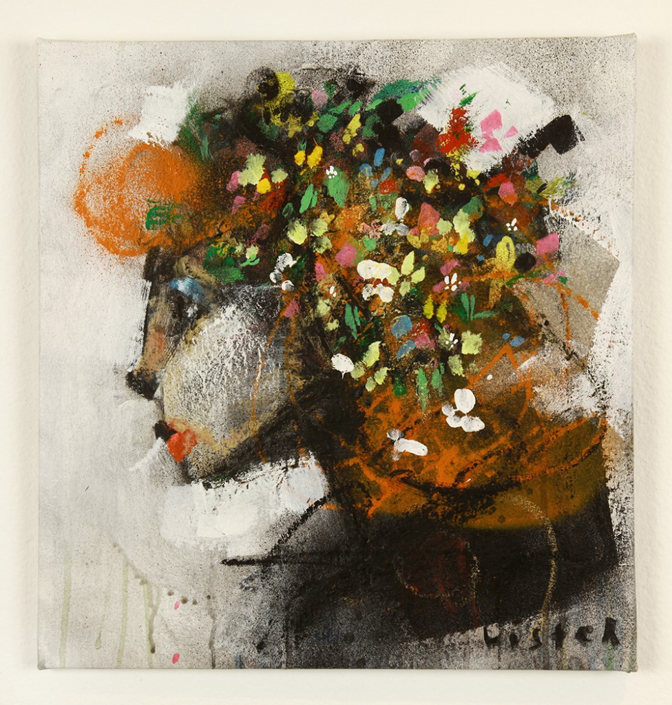 Anthony  Lister -  <strong>Antique Gaze</strong> (2014<strong style = 'color:#635a27'></strong>)<bR /> mixed media on canvas,   17 x 16 inches  (43.18 x 40.64 cm)