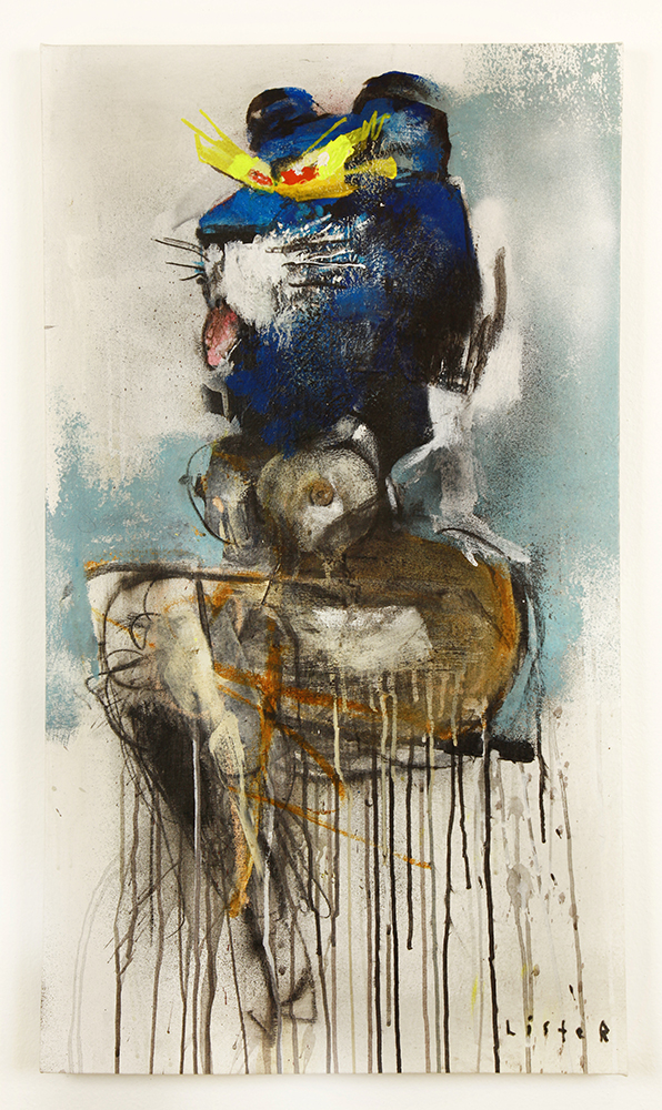 Anthony  Lister -  <strong>Back on Top</strong> (2014<strong style = 'color:#635a27'></strong>)<bR /> mixed media on canvas,   36 x 20 inches  (91.44 x 50.80 cm)