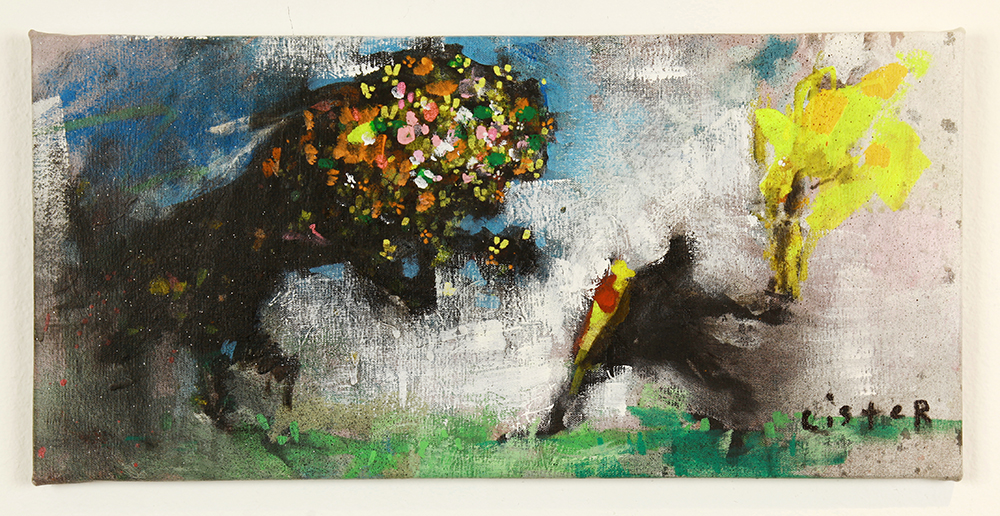 Anthony  Lister -  <strong>Drug of Choice</strong> (2014<strong style = 'color:#635a27'></strong>)<bR /> mixed media on canvas,   10 x 21 inches  (25.40 x 53.34 cm)