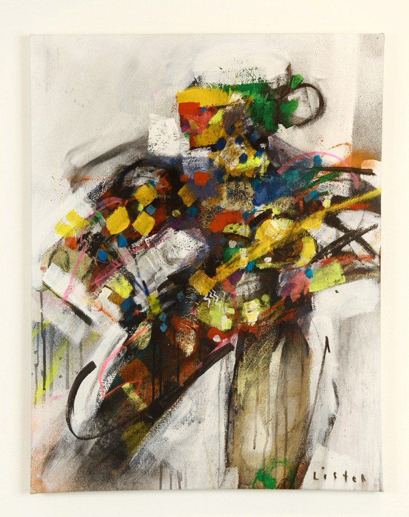Anthony  Lister -  <strong>Feature Plans</strong> (<strong style = 'color:#635a27'></strong>)<bR /> mixed media on canvas,   35 x 26 inches  (88.90 x 66.04 cm)