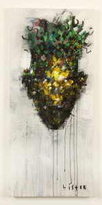 Anthony  Lister -  <strong>Flower Selfie</strong> (2014<strong style = 'color:#635a27'></strong>)<bR /> mixed media on canvas,   33 x 15 inches  (83.82 x 38.10 cm)