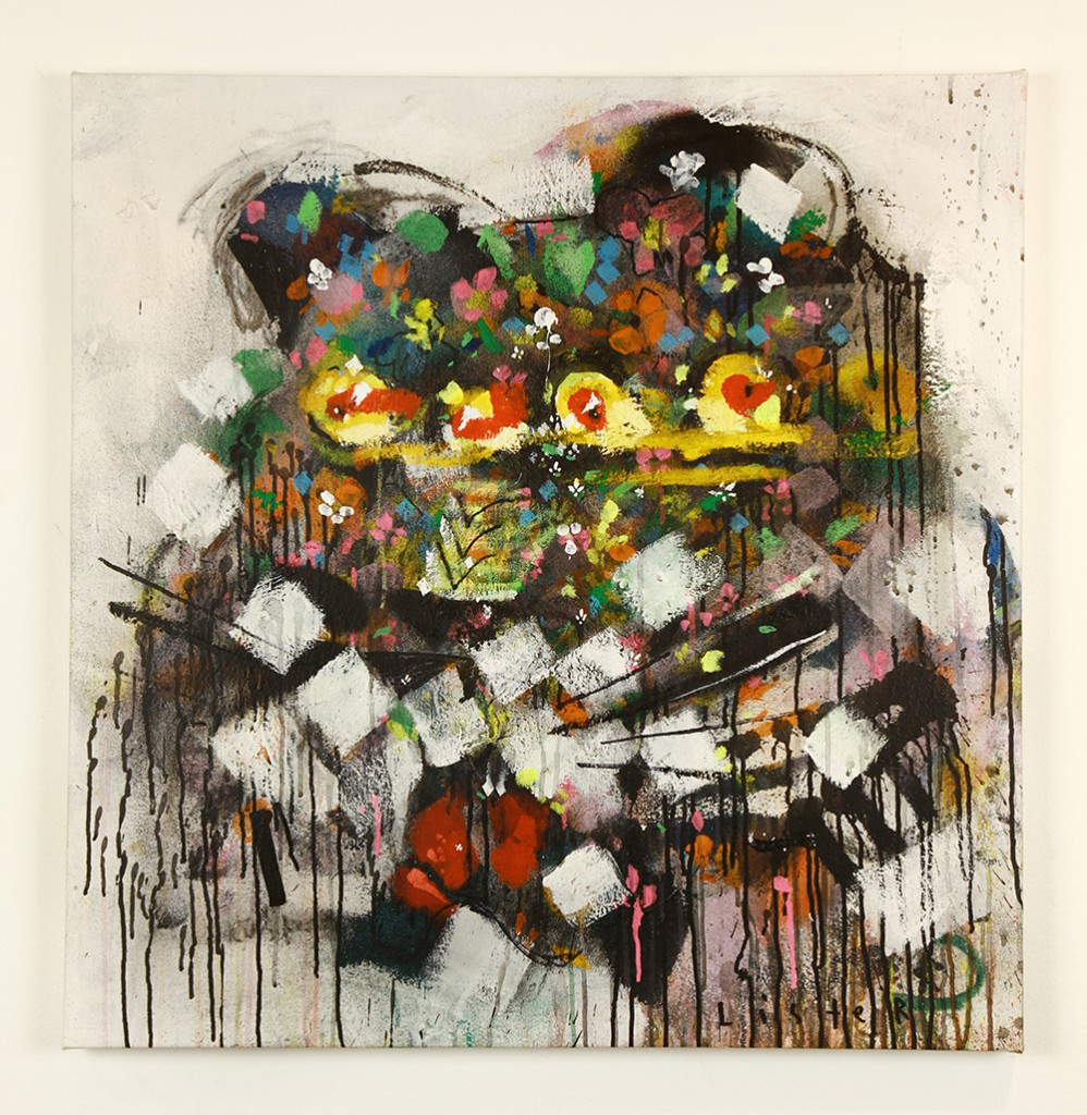 Anthony  Lister -  <strong>Fractal Feline</strong> (2014<strong style = 'color:#635a27'></strong>)<bR /> mixed media on canvas,   35 x 33inches  (88.90 x 83.82 cm)