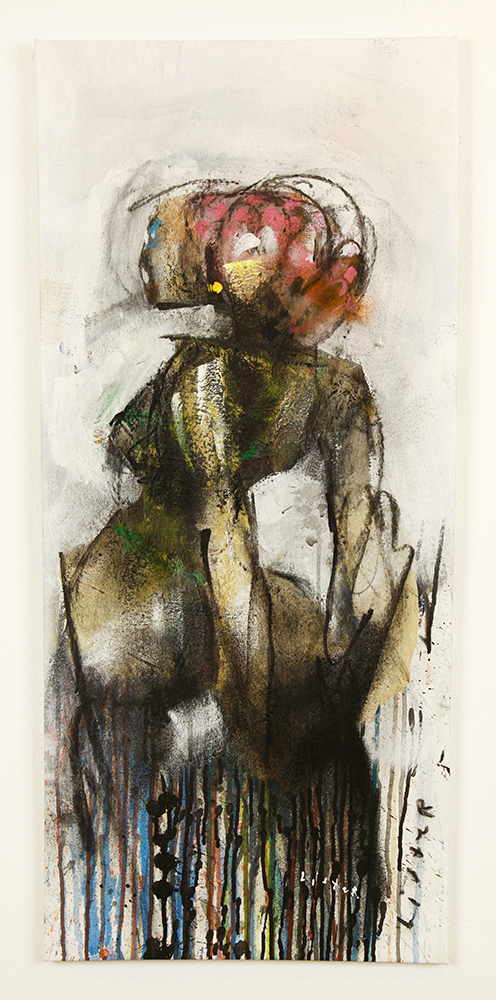 Anthony  Lister -  <strong>Hands Behind</strong> (2014<strong style = 'color:#635a27'></strong>)<bR /> mixed media on canvas,   37 x 16.5 inches  (93.98 x 41.91 cm)