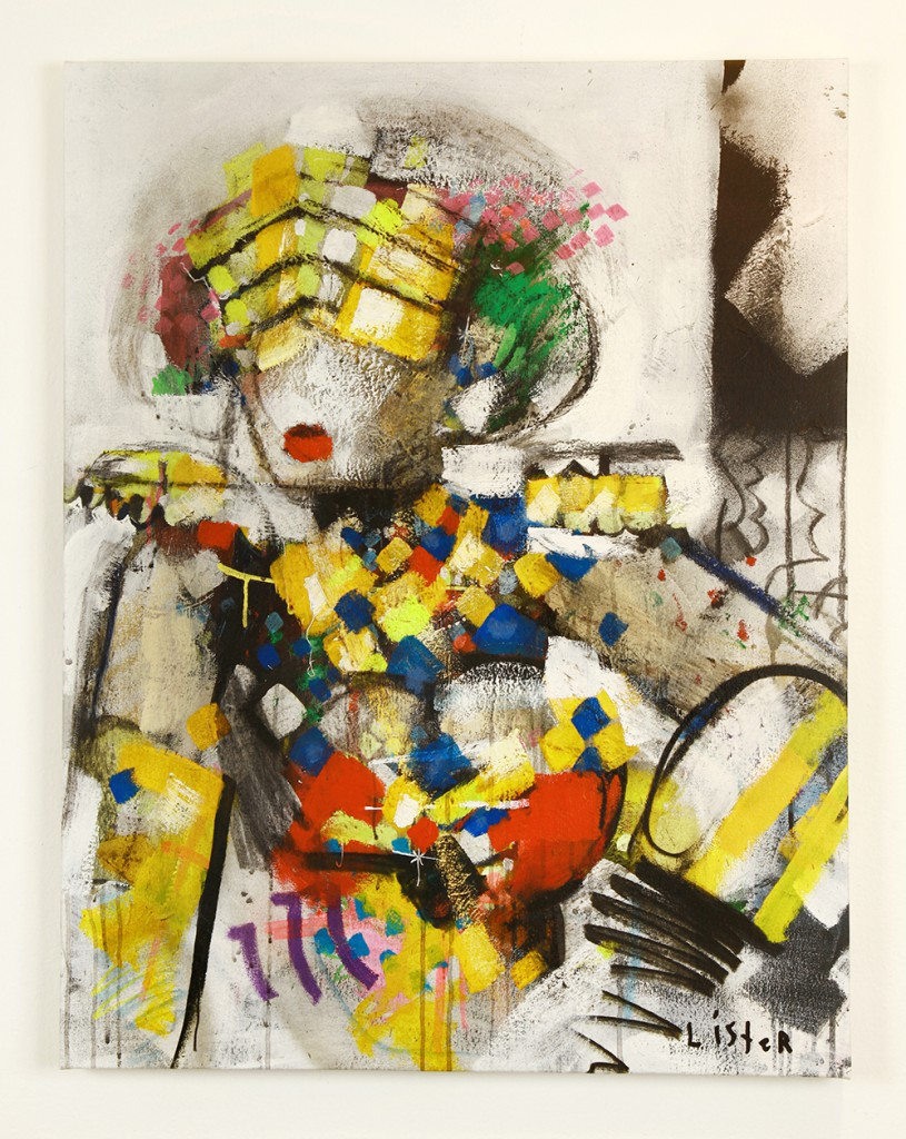 Anthony  Lister -  <strong>Hands on Hips</strong> (2014<strong style = 'color:#635a27'></strong>)<bR /> mixed media on canvas,   37 x 28 inches  (93.98 x 71.12 cm)