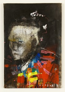 Anthony  Lister -  <strong>Indonessia</strong> (2014<strong style = 'color:#635a27'></strong>)<bR /> mixed media on canvas,   18 x 12 inches  (45.72 x 30.48 cm)