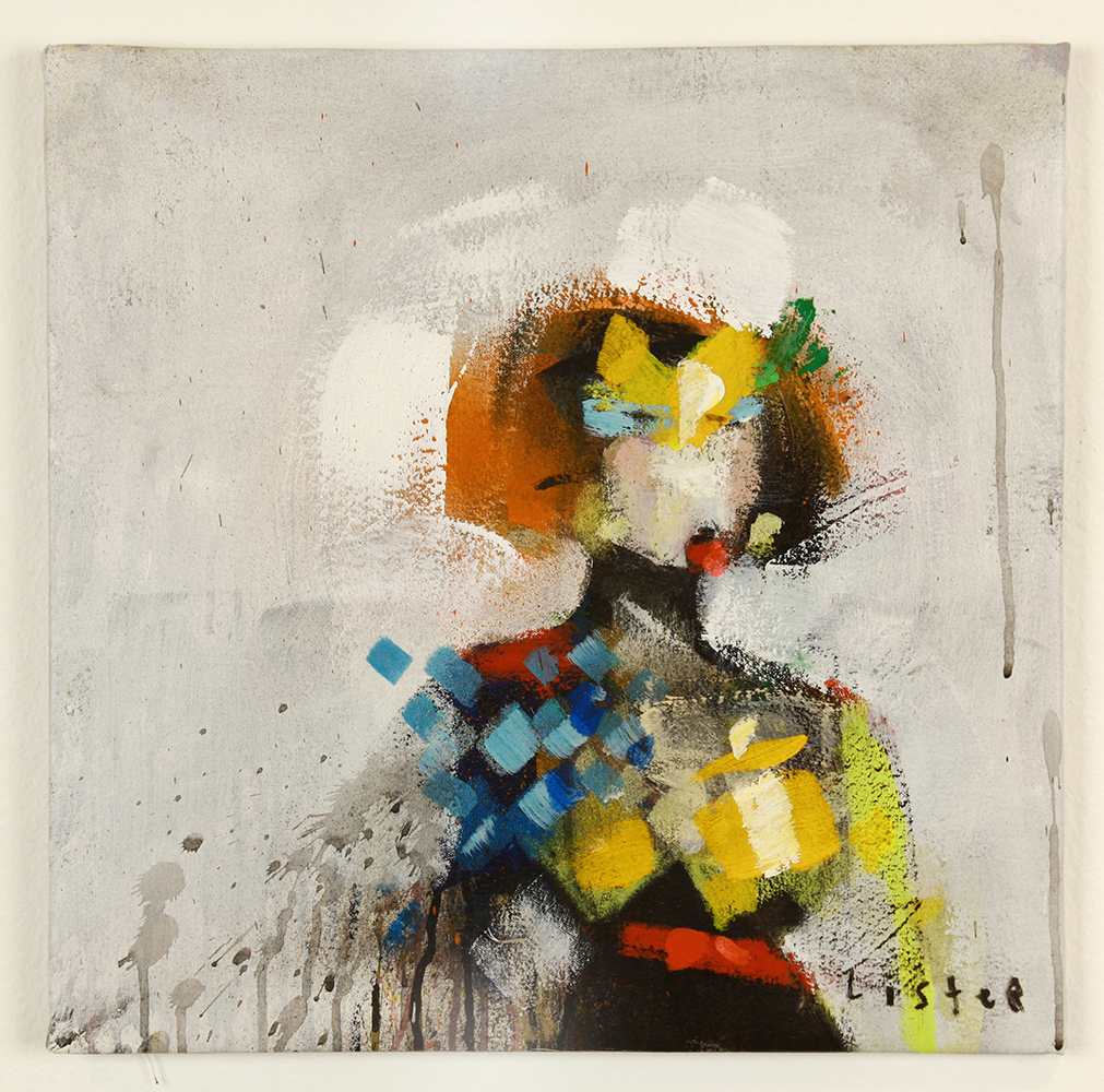 Anthony  Lister -  <strong>Jessie</strong> (2014<strong style = 'color:#635a27'></strong>)<bR /> mixed media on canvas,   18 x 18 inches  (45.72 x 45.72 cm)