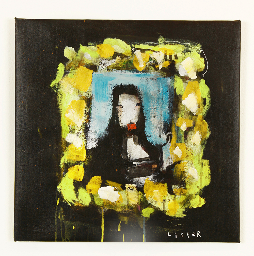 Anthony  Lister -  <strong>Mona Lister</strong> (2014<strong style = 'color:#635a27'></strong>)<bR /> mixed media on canvas,   18 x 18 inches  (45.72 x 45.72 cm)