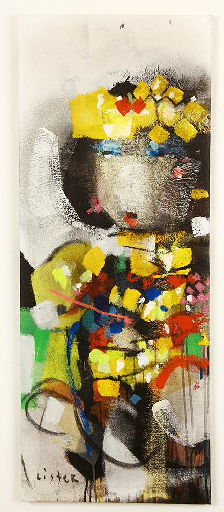 Anthony  Lister -  <strong>Museum Cased Wear</strong> (2014<strong style = 'color:#635a27'></strong>)<bR /> mixed media on canvas,   39 x 15 inches  (99.06 x 38.10 cm)