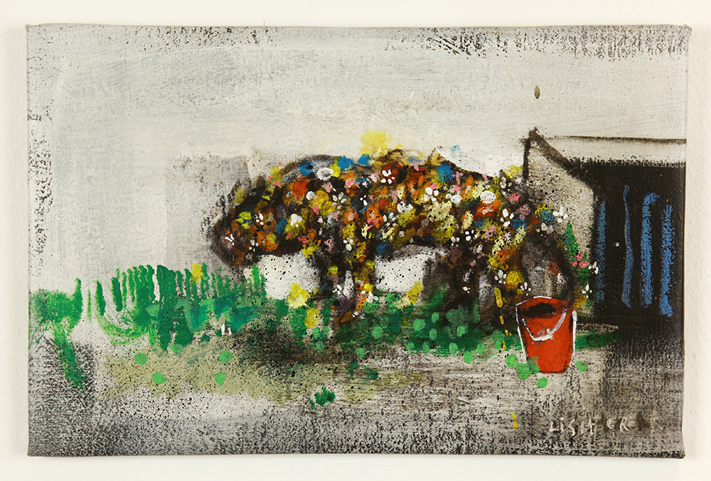 Anthony  Lister -  <strong>Pissing in a Bucket</strong> (2014<strong style = 'color:#635a27'></strong>)<bR /> mixed media on canvas,   11 x 17 inches  (27.94 x 43.18 cm)