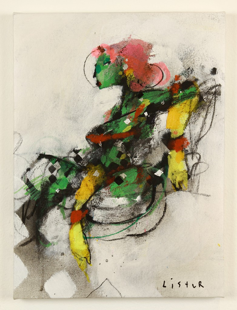 Anthony  Lister -  <strong>Sitting Pretty</strong> (2014<strong style = 'color:#635a27'></strong>)<bR /> mixed media on canvas,   22 x 17 inches  (55.88 x 43.18 cm)