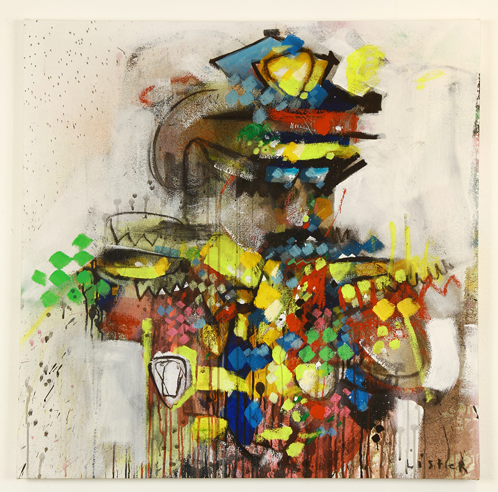 Anthony  Lister -  <strong>Snobby Cop</strong> (2014<strong style = 'color:#635a27'></strong>)<bR /> mixed media on canvas,   36 x 36 inches  (91.44 x 91.44 cm)