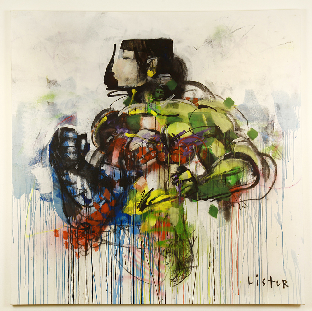 Anthony  Lister -  <strong>Super Natural Disorder 1</strong> (2014<strong style = 'color:#635a27'></strong>)<bR /> mixed media on canvas,   73 x 73 inches  (185.42 x 185.42 cm)