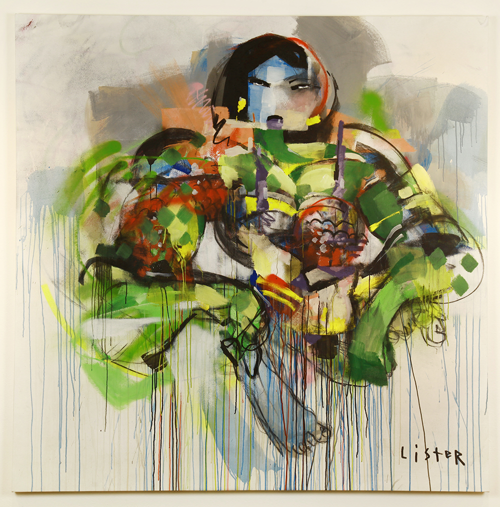 Anthony  Lister -  <strong>Super Natural Disorder 3</strong> (2014<strong style = 'color:#635a27'></strong>)<bR /> mixed media on canvas,   78 x 80 inches  (198.12 x 203.20 cm)