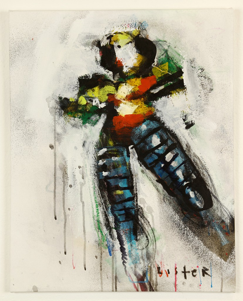Anthony  Lister -  <strong>Sure Boss</strong> (<strong style = 'color:#635a27'></strong>)<bR /> mixed media on canvas,   28 x 23 inches  (71.12 x 58.42 cm)