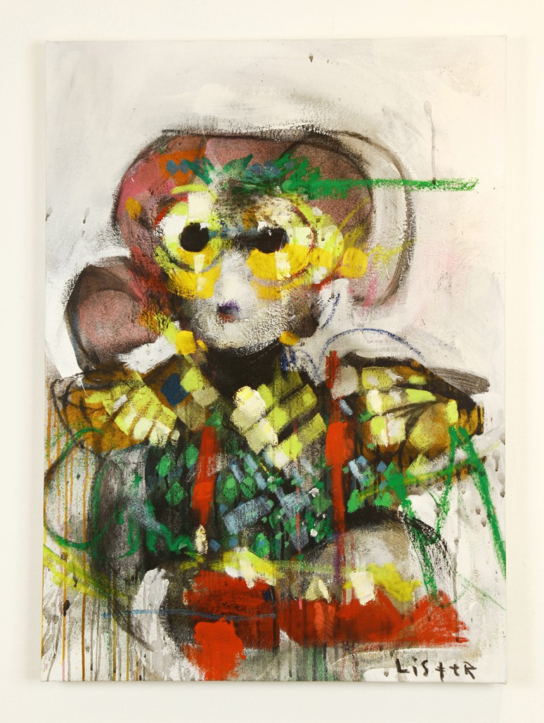 Anthony  Lister -  <strong>Sure Thing</strong> (2014<strong style = 'color:#635a27'></strong>)<bR /> mixed media on canvas,   37 x 25 inches  (93.98 x 63.50 cm)