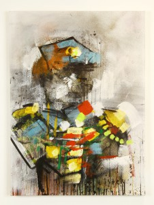 Anthony  Lister -  <strong>The Guards Break</strong> (2014<strong style = 'color:#635a27'></strong>)<bR /> mixed media on canvas,   36 x 27 inches  (91.44 x 68.58 cm)