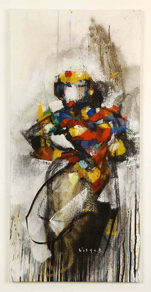 Anthony  Lister -  <strong>The Strong One</strong> (2014<strong style = 'color:#635a27'></strong>)<bR /> mixed media on canvas,   36 x 17 inches  (91.44 x 43.18 cm)
