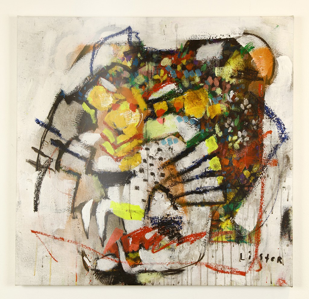 Anthony  Lister -  <strong>Tiger in Distress</strong> (2014<strong style = 'color:#635a27'></strong>)<bR /> mixed media on canvas,   35 x 33 inches  (88.90 x 83.82 cm)