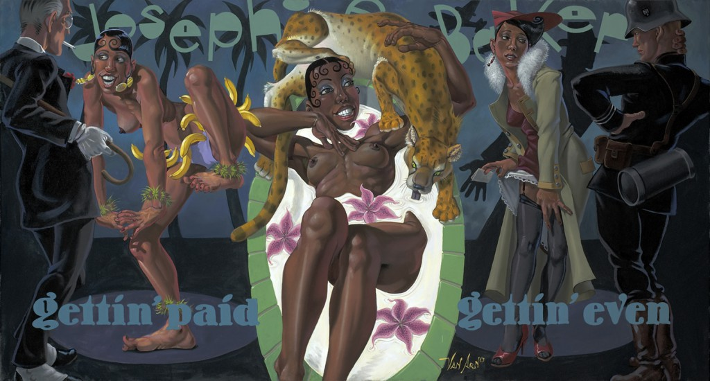 "Van  Arno -  <strong>Josephine Baker: Living Right is the Best Revenge</strong> (2011<strong style = 'color:#635a27'></strong>)<bR /> oil on canvas,   32 x 60 inches (81.28 x 152.4 cm)  Framed size TBD,   <u>Artist Statement</u>  <em>""A St. Louis street urchin, she escaped racist New World, to make a racy fortune off of race in the Old World. By the 1940s she was so famous that she could carry information for the French resistance throughout occupied Europe, without fear of her underwear being searched."",   </em>"
