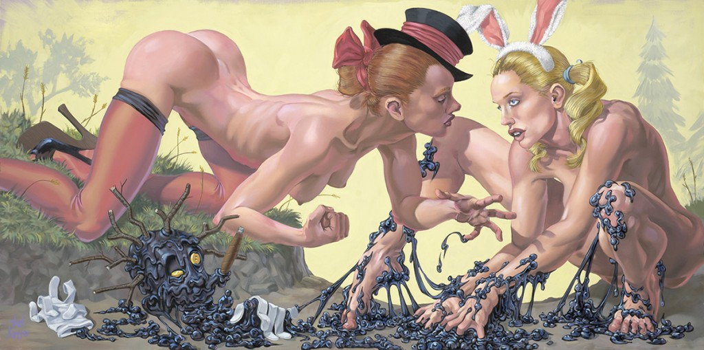 "Van  Arno -  <strong>The Tar Baby</strong> (2011<strong style = 'color:#635a27'></strong>)<bR /> oil on canvas,   24 x 48 inches (60.96 x 121.92 cm)  Framed size TBD,   <u>Artist Statement</u>  <em>""In the Uncle Remus tale, the Fox constructs a baby from a lump of tar. When the Rabbit comes along she addresses it amiably, but receives no response. The Rabbit becomes offended by Tar Baby's lack of manners, punches it, and becomes stuck. Here the Fox offers the captive Rabbit options for her demise."",   </em>"