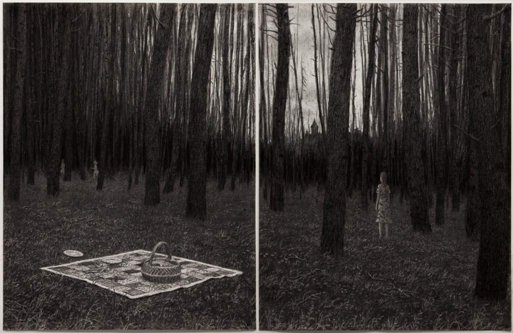 Aron Wiesenfeld -  <strong>Picnic</strong> (2016<strong style = 'color:#635a27'></strong>)<bR /> charcoal on paper diptych, 25 x 40 inches, (63.5 x 101.6 cm), framed: 33 x 44 inches, (83.8 x 111.7 cm)