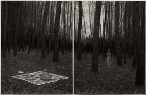 Aron Wiesenfeld -  <strong>Picnic</strong> (2016<strong style = 'color:#635a27'></strong>)<bR /> charcoal on paper diptych, 25 x 40 inches, (63.5 x 101.6 cm), framed: 33 x 44 inches, (83.8 x 111.7 cm) $6,500