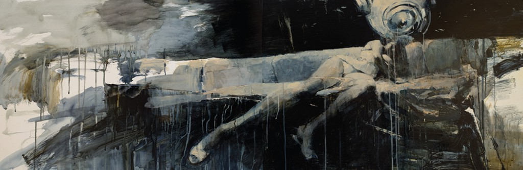 Ashley  Wood -  <strong>Favorite Sitting Device</strong> (2012<strong style = 'color:#635a27'></strong>)<bR /> oil and acrylic on panel,   24 x 72 inches (60.96 x 182.88 cm)  26.75 x 74.625 x 2.25 inches, framed