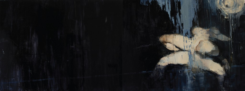 Ashley  Wood -  <strong>Favorite Sitting Device 2</strong> (2012<strong style = 'color:#635a27'></strong>)<bR /> oil and acrylic on panel,   18 x 48 inches (45.72 x 121.92 cm)  19.625 x 49.5 x 2.25 inches, framed