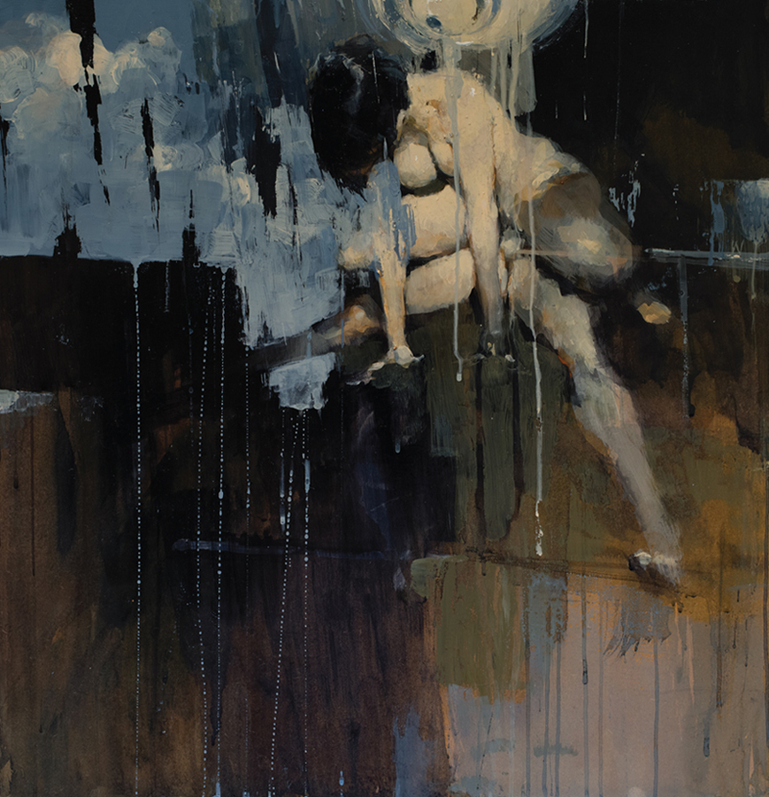 Ashley  Wood -  <strong>Favorite Sitting Device 5</strong> (2012<strong style = 'color:#635a27'></strong>)<bR /> oil and acrylic on panel,   24.625 x 23.5 inches (62.55 x 59.69 cm)  27.375 x 26.75 x 2.25 inches, framed