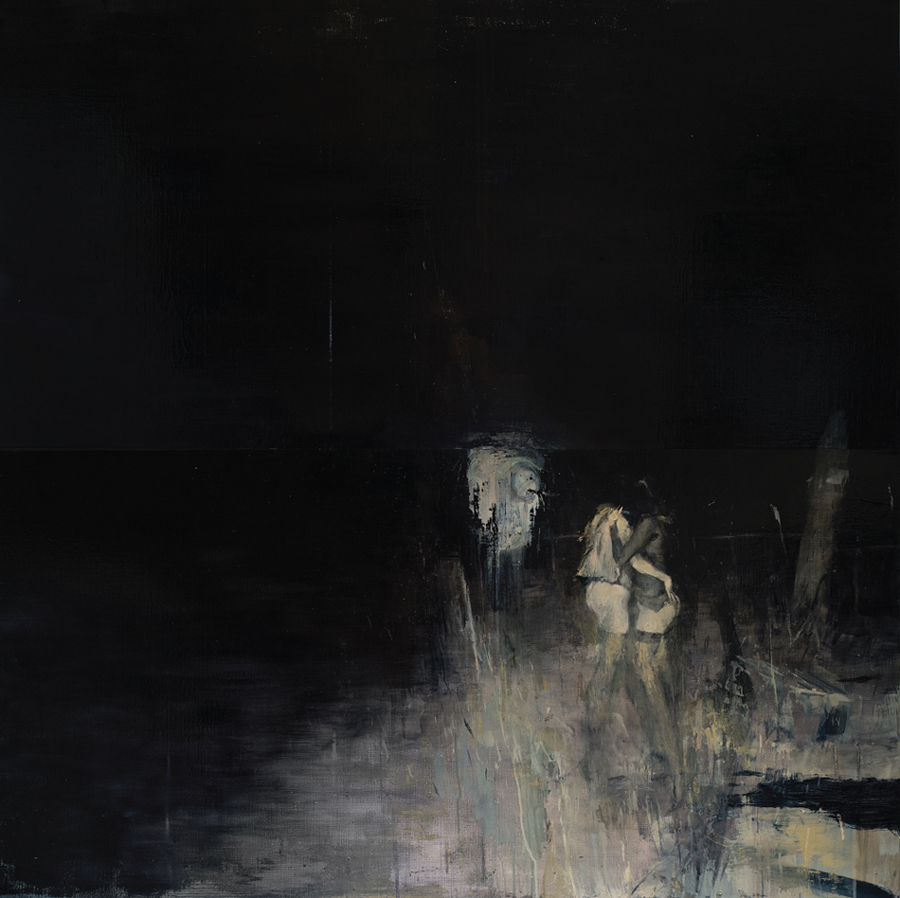 Ashley  Wood -  <strong>Finally a Smile</strong> (2012<strong style = 'color:#635a27'></strong>)<bR /> oil and acrylic on linen,   48 x 48 inches (121.92 x 121.92 cm)  50.5 x 50.375 x 2.25 inches, framed